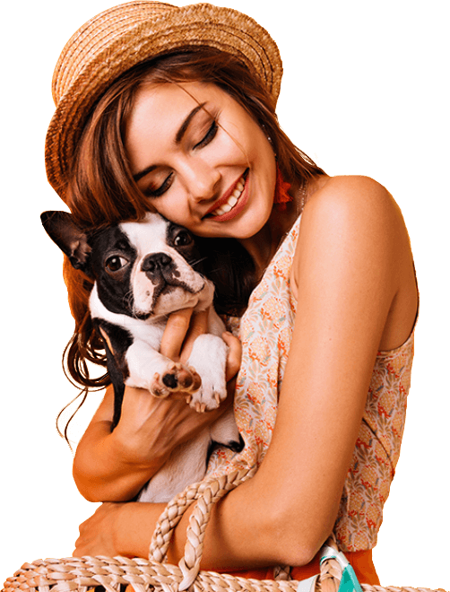 Pet insurance owner smiling with their dog