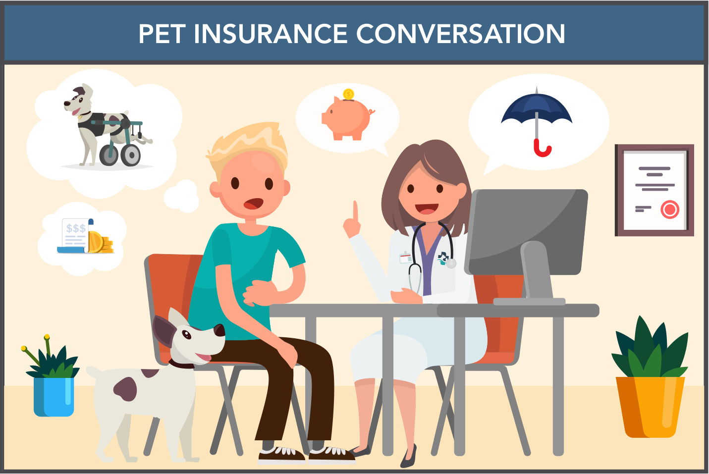 A veterinarian talk with a pet parent about pet insurance and why it's important to purchase.