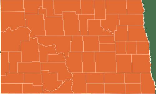 A map of North Dakota